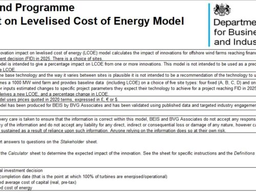 Innovation impact on levelised cost of energy model